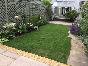 Complete garden paving, grass and flower make over