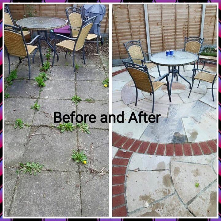 Before and after of patio
