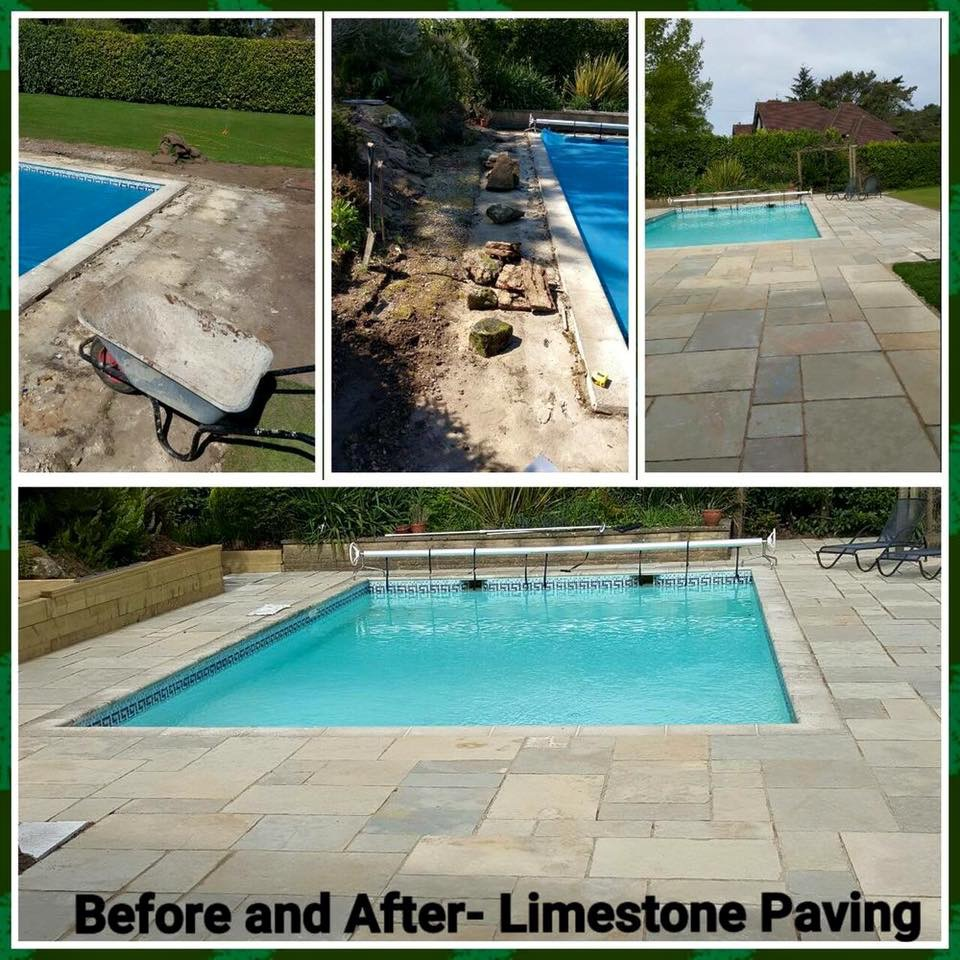 Before and after of limestone paving around a pool