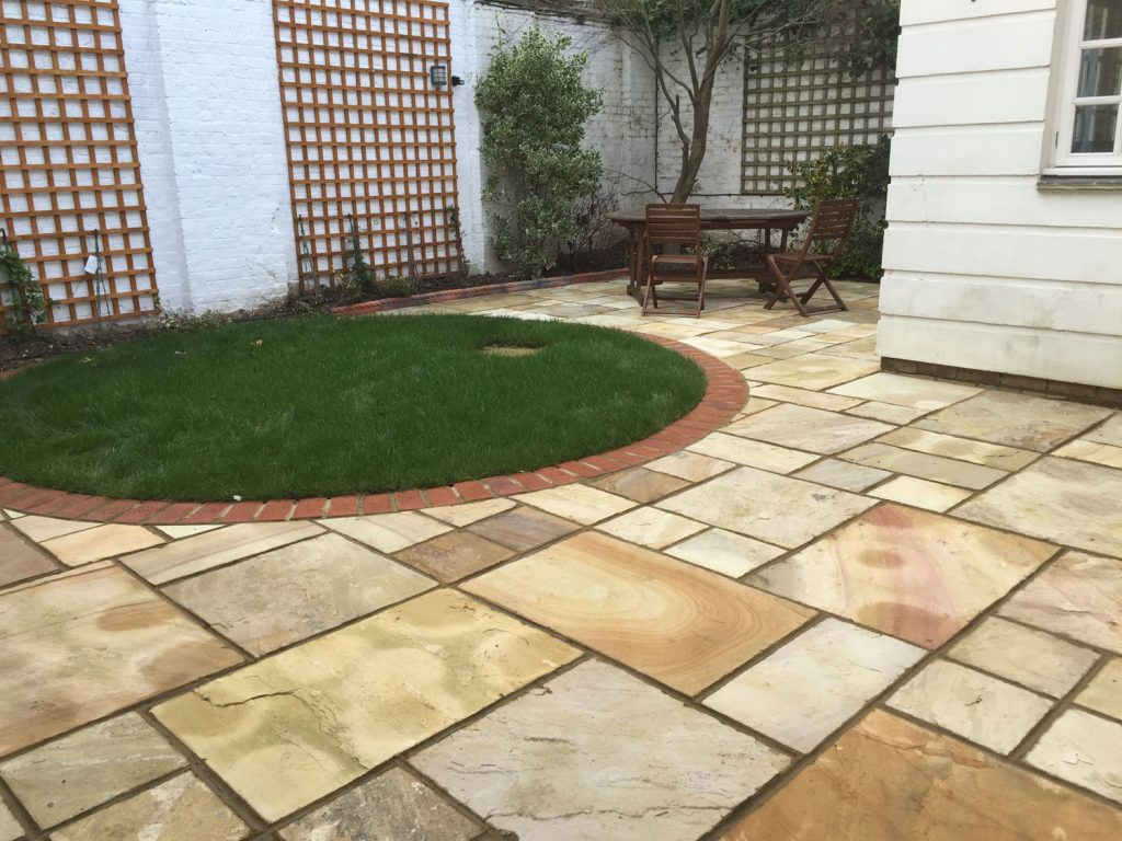 Patio with small grassed area