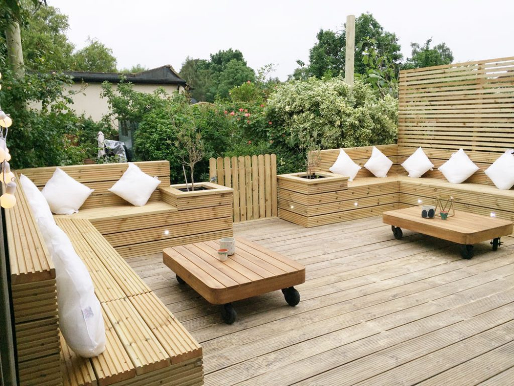 Wooden garden seating area